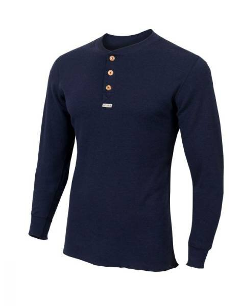 ACLIMA Warmwool Granddad Shirt Man Peacoat Blue - outdoorpro.dk