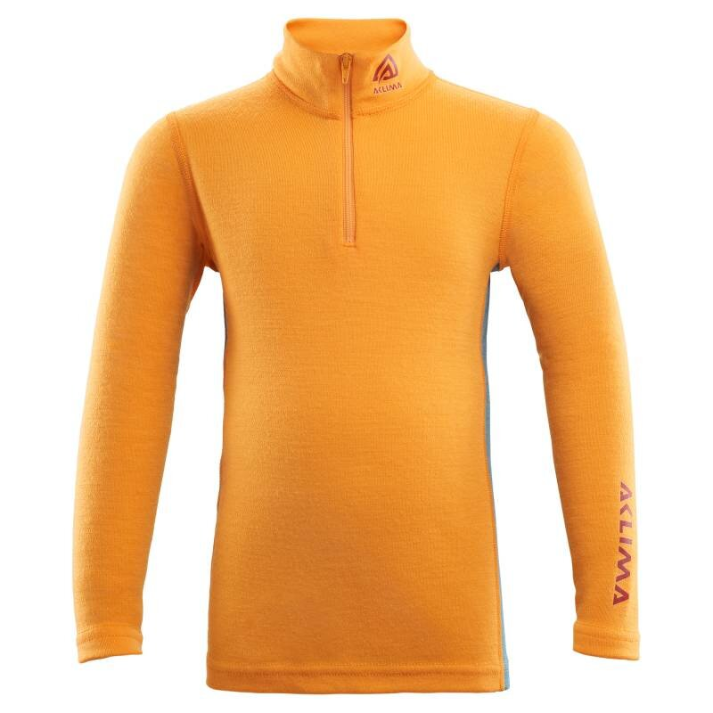 Aclima Warmwool Mock Neck with Zip Children - Cadmium Yellow - Tapestry thumbnail