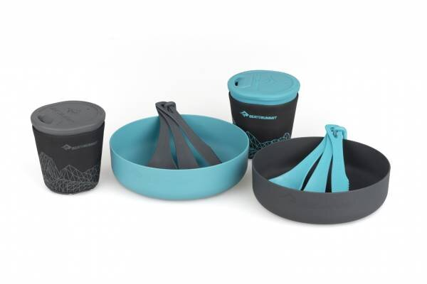 DeltaLight Camp Set 2.2 (2 mugs, 2 Bowls) - Pacific Blue / Grey