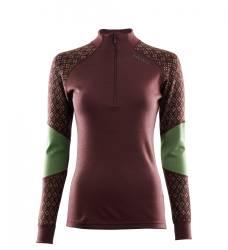 Aclima Designwool Glitre Mock Neck Women - Furu - outdoorpro.dk