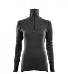Aclima Doublewool Polo Shirt Zip Women - Marengo/Jet Black - outdoorpro.dk