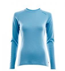 Aclima Warmwool Crew Neck Shirt Women - Azure Blue - front - outdoorpro.dk