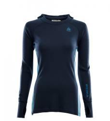 Aclima Warmwool Hoodsweater Women - Navy Blazer / Azure Blue / Blue Sapphire. - front -outdoorpro.dk